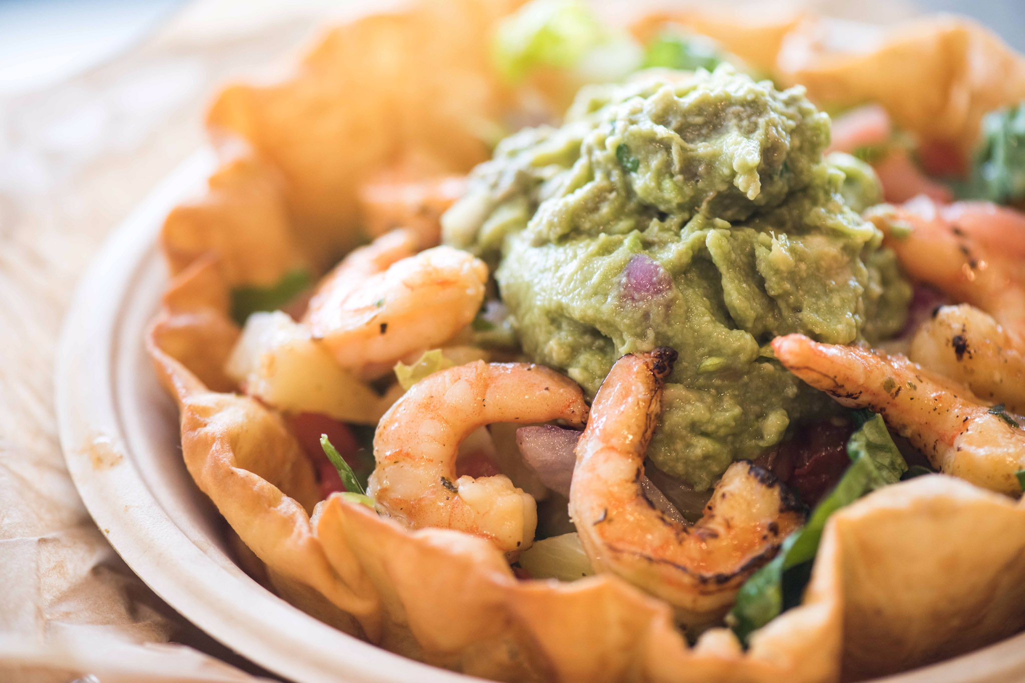 QDOBA Mexican Eats Fire-Roasted Shrimp Salad Healthy Nutritional Diet