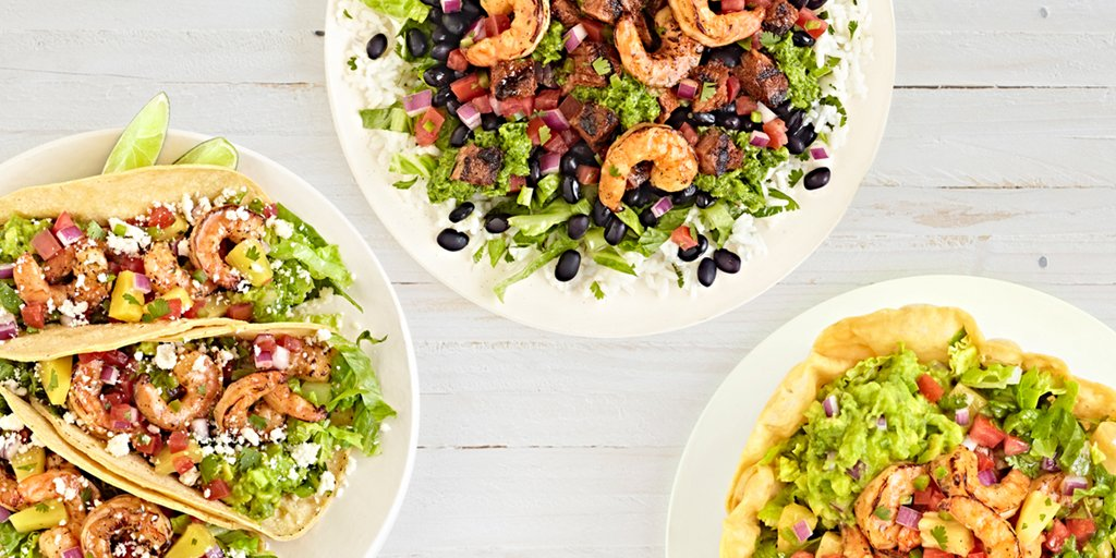 QDOBA Mexican Eats Healthy Fire Roasted Shrimp Entrees