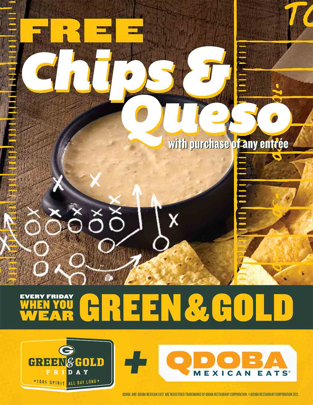QDOBA Green and Gold Free Queso Promotion